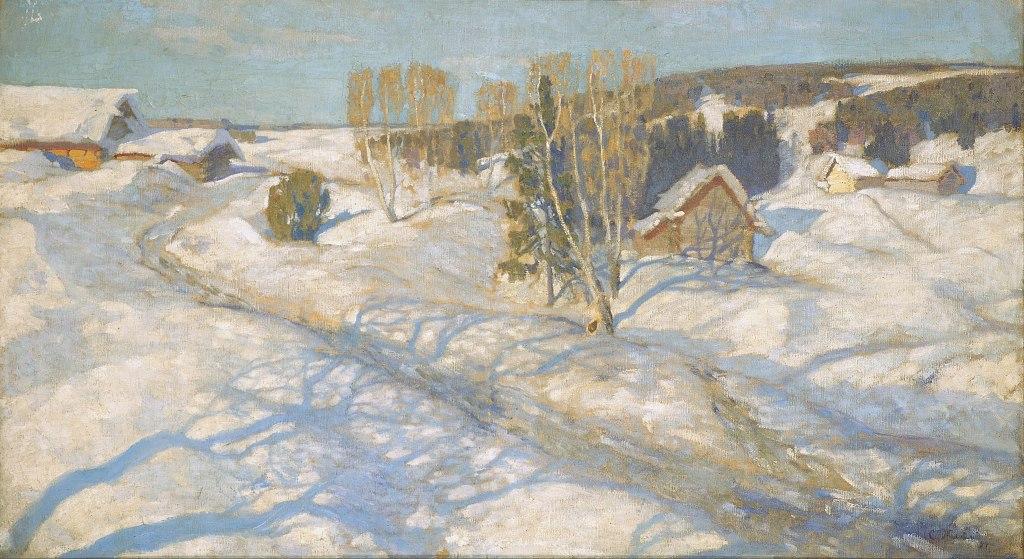 Stanislaw Shukowski: Spring. Blue Snow, 1899, Oil on canvas, 80 x 142 cm, The State Tretyakov Gallery, Moscow